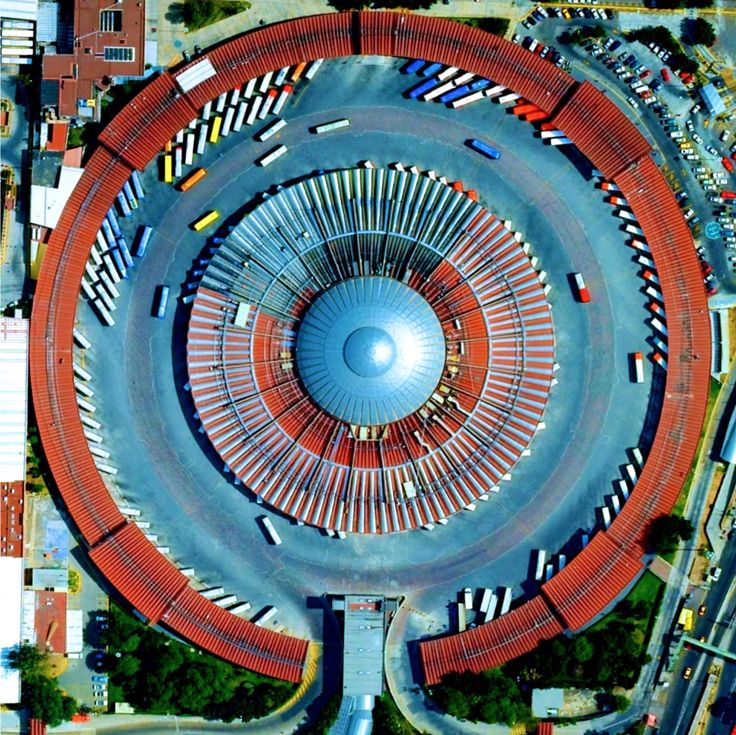 dailyoverview:  To continue my selection of favorite Overviews from 2015, I'm excited to repost this one of the Terminal de Autobuses de Pasajeros de Oriente - a major bus terminal in Mexico City, Mexico. Commonly known as TAPO, the dome-covered structure accommodates more than 10,000 passengers per day traveling to fourteen states throughout the country. 19°25′48.04″N 99°6′44.28″W  www.dailyoverview.com