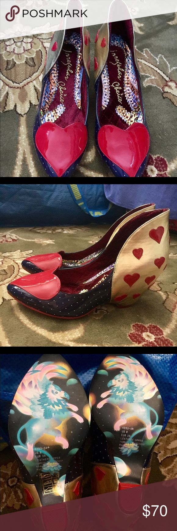 Irregular Choice Heart shoes 8 Brand New! Unique and fun! Does not ship in box. 8 SALE price $70 ends @12 am 6/29.  Price back up to $90 at that time!! Shoes Wedges
