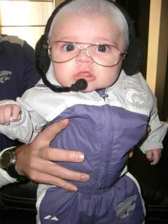 Baby dressed as Kansas State's Football Coach Bill Snyder :)