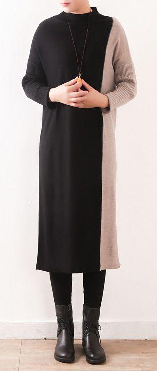 253fd58f18 Oversized Sweater dress outfit Moda high neck patchwork black Mujer knit  dress