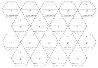 "Better Hexie Layout - Free printable 1"" (on each side) hexie template. Cuts apart fast with a rotary cutter, then snip off the triangles with a scissors. Boom! Done.:"