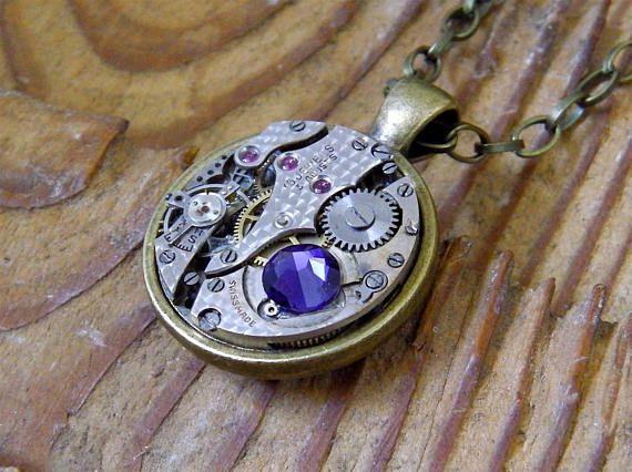 Steampunk Necklace / Pendant  Featuring a 15 Jewel Vintage