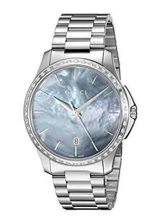 Gucci 'G-Timelss' Quartz Stainless Steel Automatic Watch, Color:Silver-Toned (Model: YA126458) - Product Dimensions: 4.5 x 4.2 x 4 inches; Swiss Made, ETA quartz movement Sapphire with antireflective coating inside Analog-quartz Movement; Case Diameter: 38mm; Water Resistant To 50m (165ft: in General, Suitable for Short Periods Of Recreational Swimming, but not Diving or Snorkeling.(affiliate link)