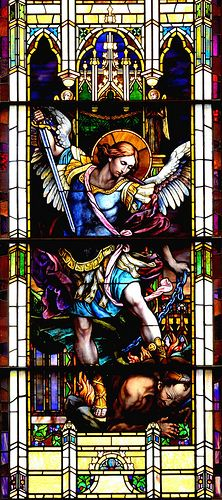 Archangel Michael Stained Glass Window, St. Patrick's Basilica, Montreal, Quebec, Canada