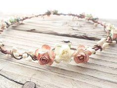 Ivory Rustic Flower Crown Hair wreath Ivory wedding hair wreath Flower crowns for women by my fashion creations, $28.00