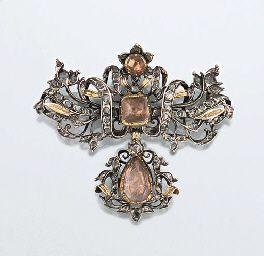 An 18th century topaz and diamond brooch