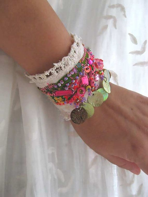 Riverside Bracelet, Antique Linen, Beaded, Vintage Embroidery, Cream, Pink, Green, Shell, Pretty, Boho