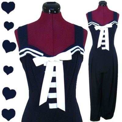 Vintage 80s Navy NAUTICAL Jumpsuit White Stripe L Joseph Ribkoff Sailor PINUP #Vintage PinupDresses.com