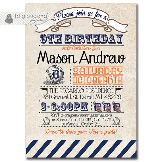 Printable Birthday Party Invitation Card Detroit Lions: 79 Best Tiger Party Images On Pinterest