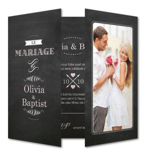 Votre faire-part de mariage ardoise rétro à personnaliser avec votre texte et votre photo. Les parties brillantes sont en vernis sélectif pour apporter de la matière et une touche de brillance au faire-part. Planet-cards.com