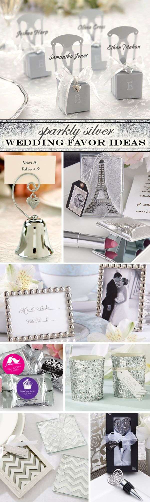 100 Sparkly Silver Wedding Favor Ideas - add some sparkle, glitter and shine to your big day!