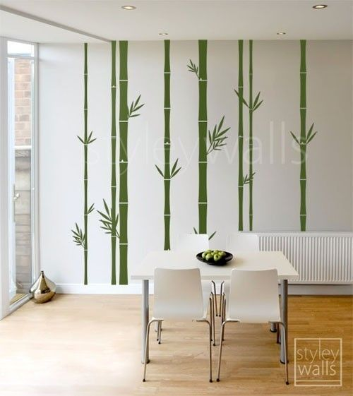 Please click on the picture to see it in a larger version.) These set of 8 Bamboo Stalks decal measures 100 wide by 100 high comes with leaves as