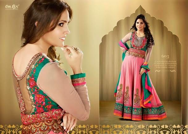 OFM-OMLARA-603 Ethnic Pink and Green Long Anarkali with Raw Silk Yoke, Georgette & Net Kameez with santoon Bottom & inner. Heavy Thread, Jari and Stone Work makes it more beautiful. Chiffon dupatta included.