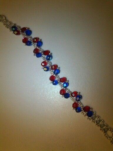 Armband blauw met rood