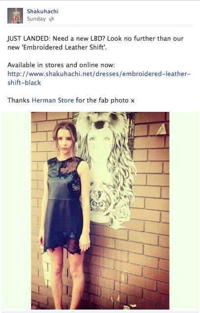Jess | Shout out from Shakuhachi. #shakuhachi #leather #dress #fashion #facebook #hermanstore
