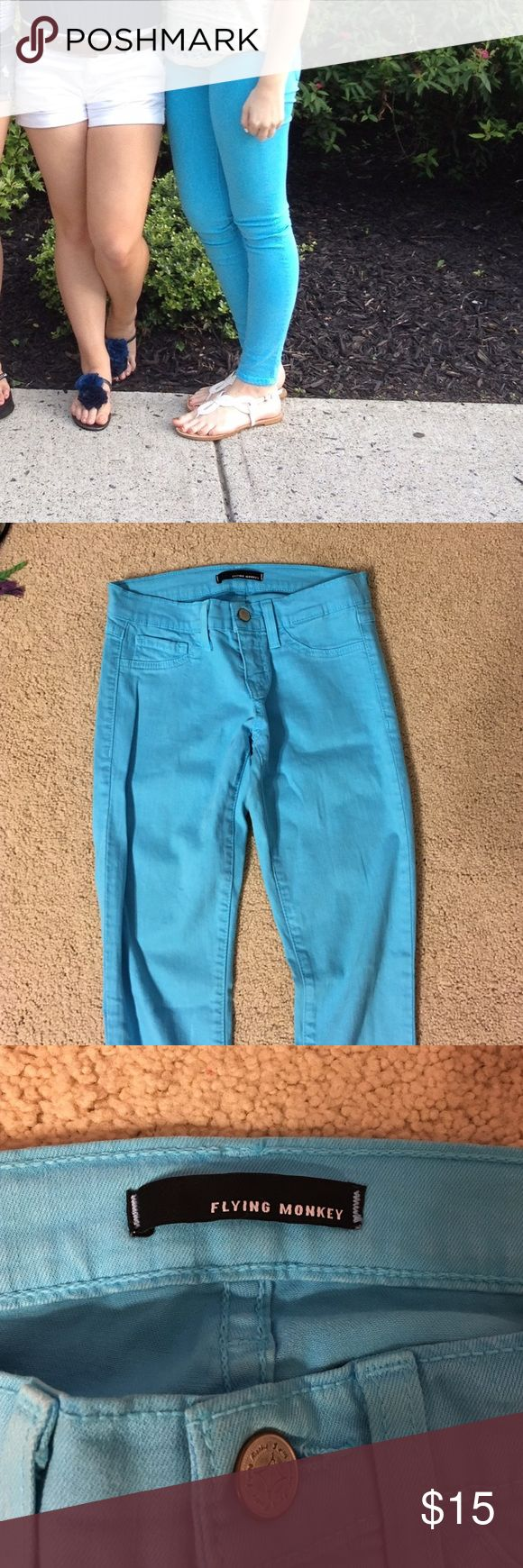 Light blue skinny jeans Light blue skinny jeans, good condition, flying monkey brand, size 3 (runs small) purchased from a local boutique in my area that is very nice! flying monkey Jeans Skinny