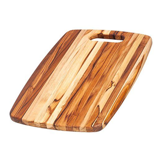 Teak Cutting Board - Rounded Rectangle Chopping Board With Centered Handle (18 x 12 x .75 in.) - By Teakhaus - How beautiful is this??!  A great deal and solid teak.