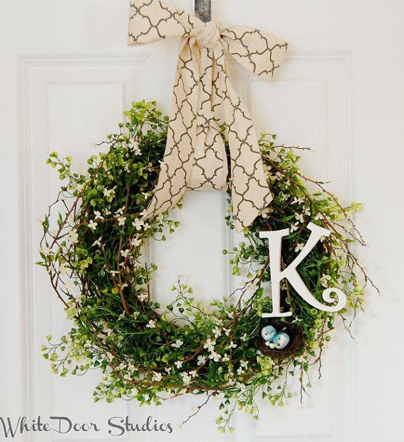 Personalizované Birds Nest přední dveře věnec se zelení, na jaře av létě věnec, kolaudační párty, svatební dar