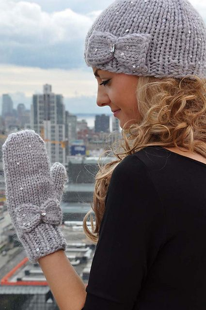 """Ravelry: """"Snow Princess"""" Girls and Adult Sequin Hat and Mitten Set with Bow Detail and iPhone Compatibility pattern by Lauren Riker"""