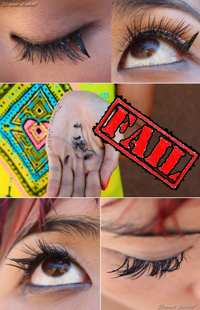 False Eyelashes are NOT waterproof! (Unless you use semi-permanent individual lash adhesive).  These professional-use Individual Flare lashes were applied with WATERPROOF strip lash glue and couldn't keep the lashes from getting warped and falling off.