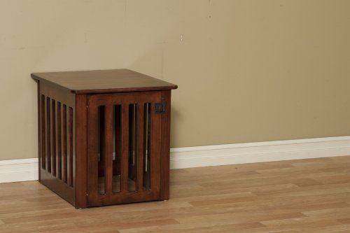 $309.00 Wood Dog Crate Large in Maple Wood - Dog Crate End Table  An Amish wood dog crate that's also a stylish end table - what a great way to share space! Now your pet can set up house right in your living room and you don't have to hide an awful metal mess every time company drops in.  Sturdy construction and a durable finish mean that you can enjoy your new table as much as your pet enjoys thei ...