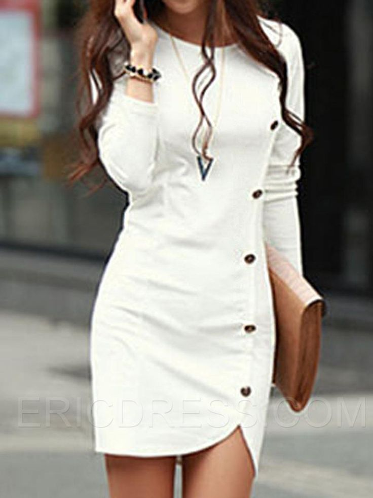 Plain Long Sleeve Button Bodycon Dress 1