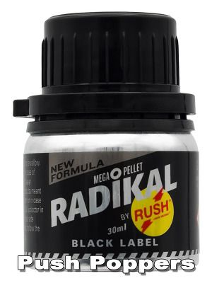 RADIKAL RUSH BLACK LABEL big The big Radikal Rush Black Label is one of the first Poppers in an unique and unbreakable aluminum bottle.   It is an absolutely new combination of the most powerful ingredients and the new Mega Pellet for even longer freshness and potency.   #Poppers