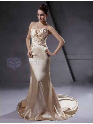 Trumpet Mermaid Strapless Sleeveless Court Train Wedding Dress