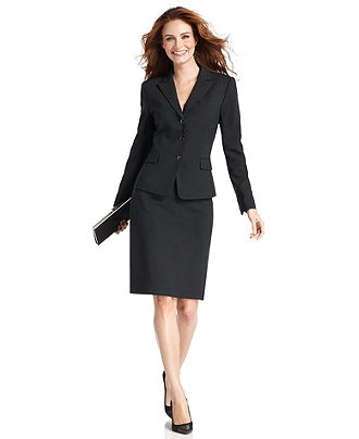 Tahari by ASL Petite Suit, Pinstriped Jacket & Pencil Skirt - Womens Petite Suits & Separates - Macy's