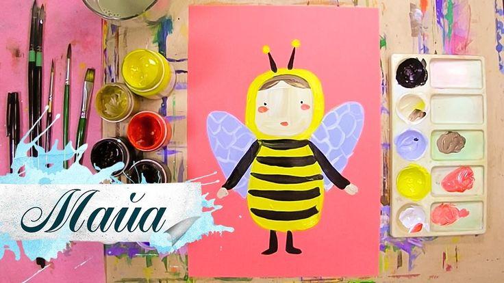 Дети рисуют пошагово, Майа, пчелка, сказка. Подписывайся на Мир Дизайна - https://vk.com/design_is Получи порцию вдохновения.