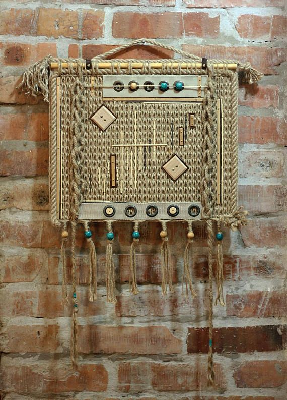 Modern macrame wall decor, Beige turquoise hand knitted wall decor ...