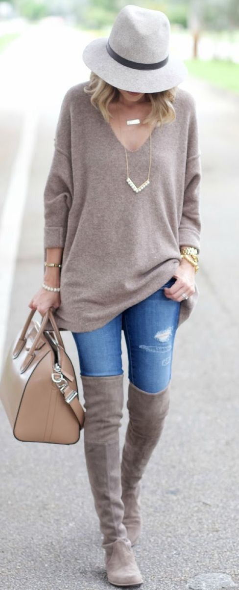 Perfect nude Fall look!  Sexy over the knee boots with oversized, comfy sweater and fedora. Get your own personal stylist today with Stitch Fix!