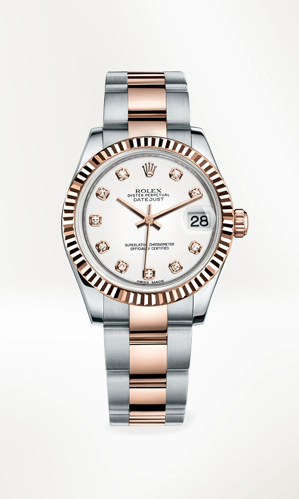 Rolex Datejust 31 Rolesor in 904L steel and 18 ct Everose gold, with a fluted bezel, white dial set with diamonds and Oyster bracelet.