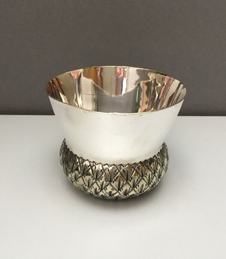 Antique Victorian Silver Plate Christening Cup Stirrup cup sugar bowl Scottish Thistle by ArthursTreasureChest on Etsy