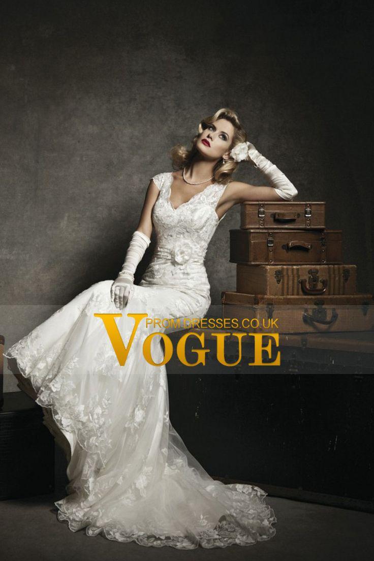 Modest Mermaid V Neck Lace Wedding Dresses Lvory