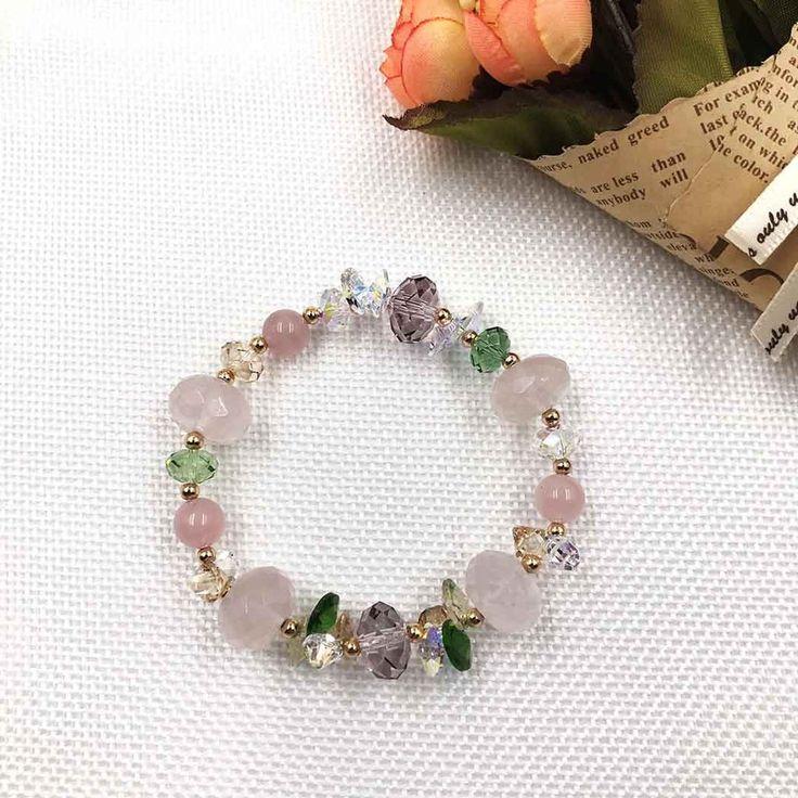 UneJoux Fashion Bracelet With Rose Quartz & Swarovski Crystal FBL-4 - UneJoux