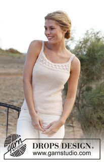 """Knitted DROPS top with lace pattern in """"BabyAlpaca Silk"""". Size: S – XXXL. ~ DROPS Design"""