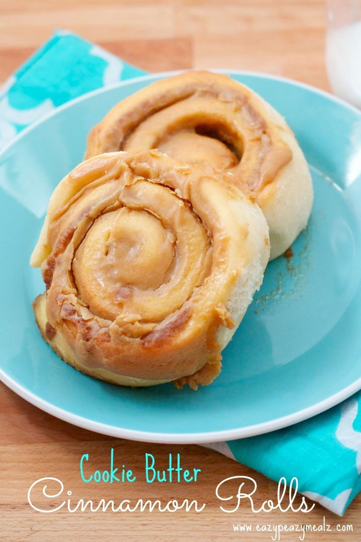 Cookie Butter Cinnamon Rolls: Decadent, light, fluffy, these sweet rolls are seriously the BEST! - Eazy Peazy Mealz