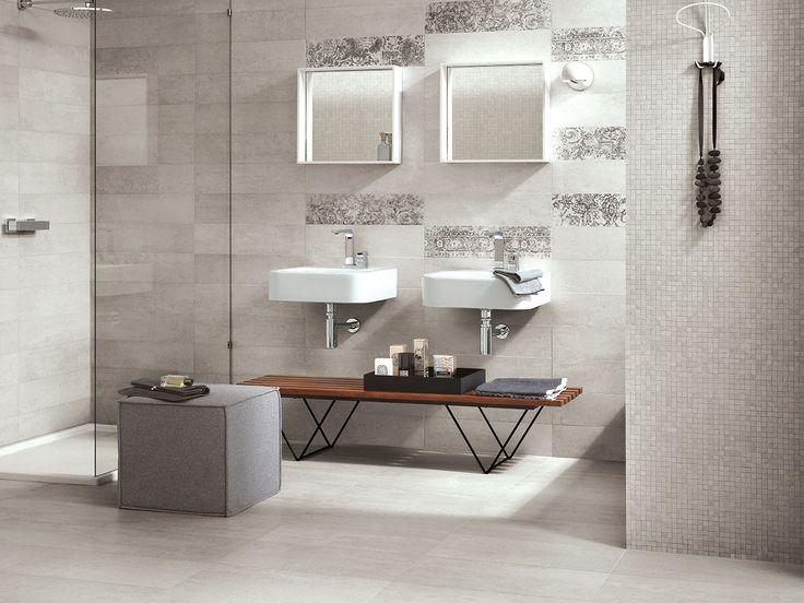 Pavimento In Gres Porcellanato Rettificato Colorato In Massa, Serie DISTRICT, Effetto Cemento Minimal Contemporaneo. Formato: 15x60. Colore: Bianco