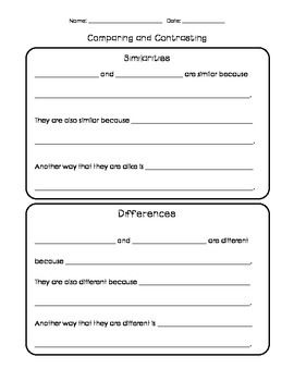 Simple+sentence+frames+and+paragraph+organizer+for+comparing+and+contrasting+paragraphs.+Easily+differentiated+for+different+levels!