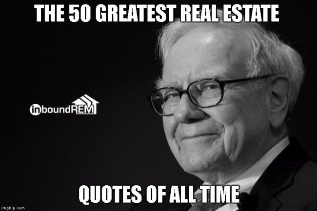 Warren Buffet Image | Cover photo for the 50 greatest real estate quotes of all time    #quotes  #realestate