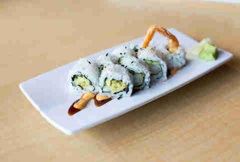 shrimp tempura roll: Shrimp tempura, avocado, tempura flakes, eel sauce Tempura is one of the least fatty ways to fry... but regardless, that extra oomph rockets the shrimp tempura roll into the top three.