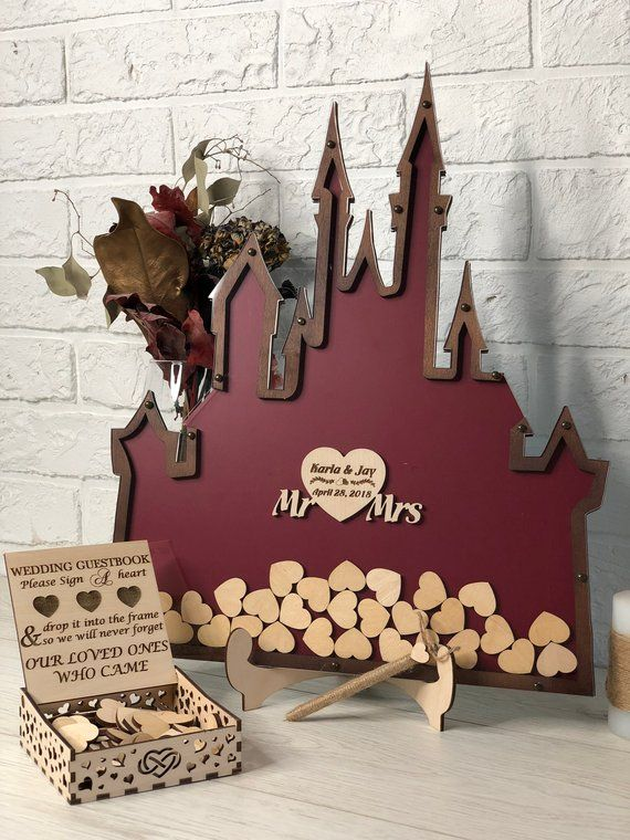 Disney Wedding Guest Book Alternative, Rustic Wedding, Wedding, Castle Wedding, Drop Box, Wedding Guest Book Ideas, Wood Guestbook, Custom