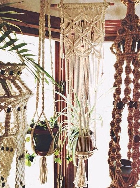 macrame plant holders.. still make them... still use them..