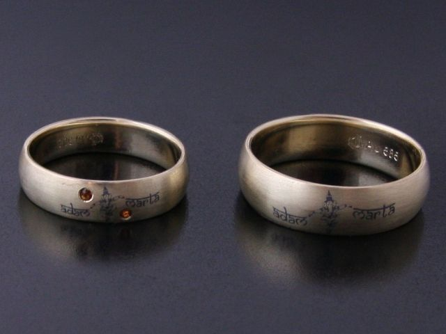 #rings by #Bielak yellow #satin gold  imprint  profile: cross-sediction  stones: 2 garnets 1.2 dimension  #unique #wedding