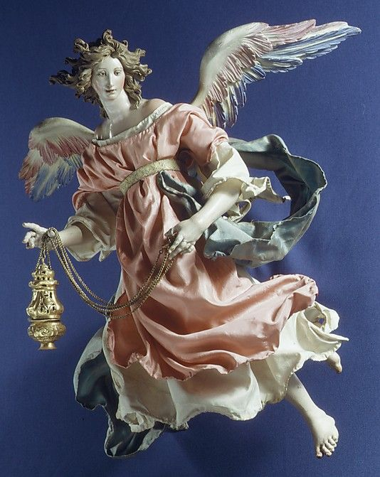 Neapolitan Baroque Angel Figure 18th c. Attributed to Salvatore di Franco |17 3/8''h