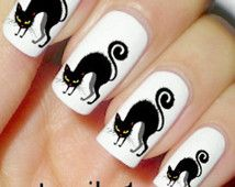 Chat noir ongles vernis à ongles Stickers Halloween manucure Mani Pedi Goth gothique horreur sorcière Kitty Cosplay Costume Art Womens accessoires