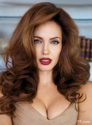 Angelina Jolie. Please excuse the cleavage, I just love her hair in this picture. :)