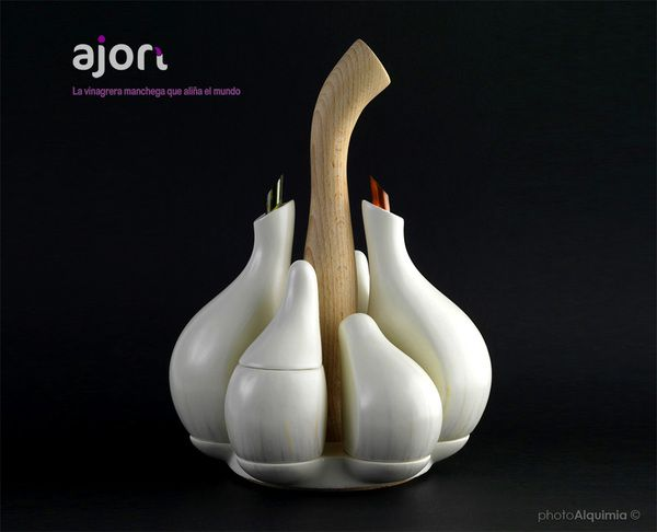 Salad dressing set in the form of garlic. Attractive enough to leave on the table post-meal.