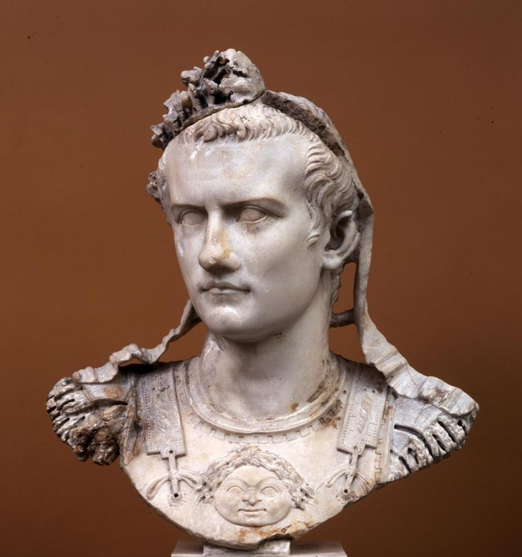 "Caligula as commander-in-chief, in armor, wearing an oak leaf wreath. On January 24th, AD 41, the emperor Caligula was stabbed to death in Rome. On the same day, portraits of Caligula were thrown into the Tiber. Three of the c. 45 known portraits of Caligula were in fact found in that river. ""This cuirass bust is one of them."""